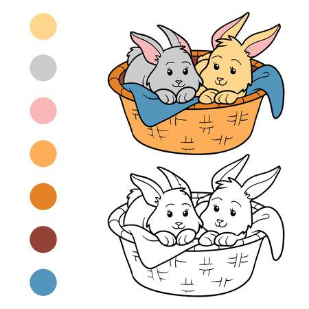 children book: Game for children: Coloring book (rabbits in basket) Illustration