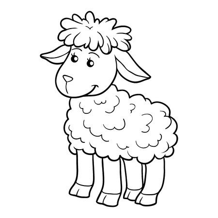 lamb cartoon: Game for children: Coloring book (sheep)