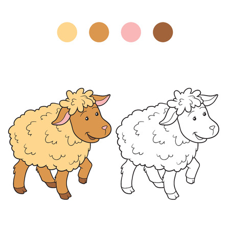 wool sheep: Game for children: Coloring book (sheep)