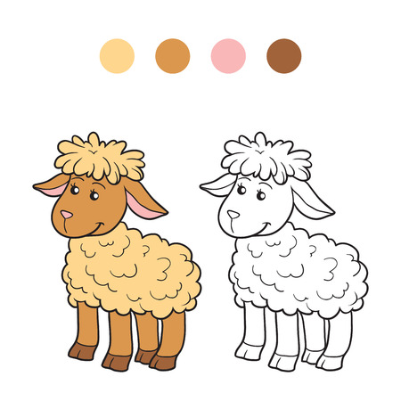 ewe: Game for children: Coloring book (sheep)