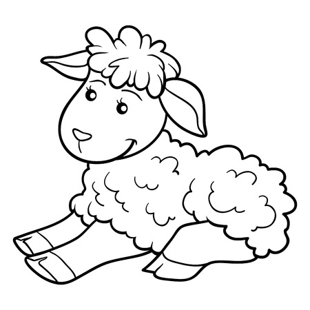 baby lamb: Game for children: Coloring book (sheep)