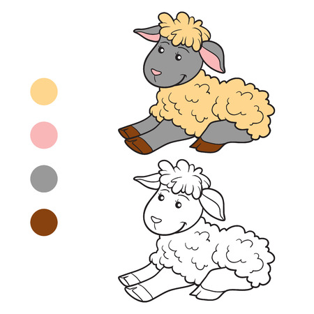 coloration: Game for children: Coloring book (sheep)