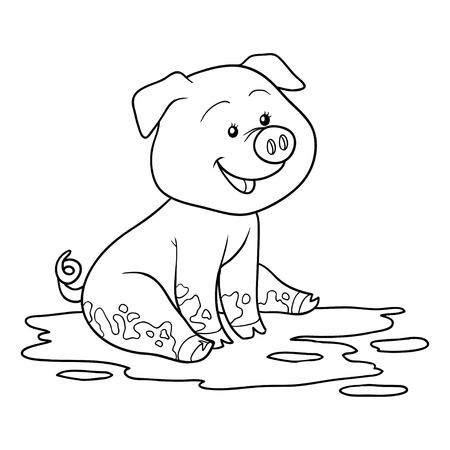 Game for children: Coloring book (pig)