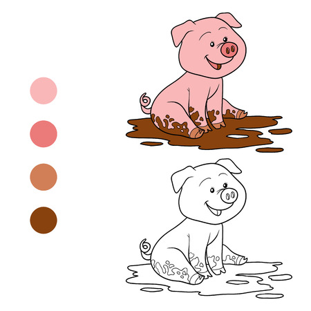 coloration: Game for children: Coloring book (pig)