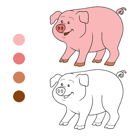 rotund: Game for children: Coloring book (pig)