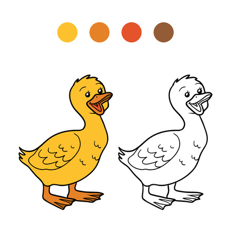 coloration: Game for children: Coloring book (goose, chick)