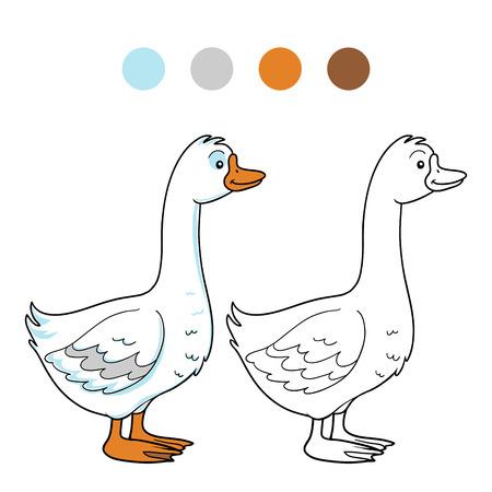 quack: Game for children: Coloring book (goose)