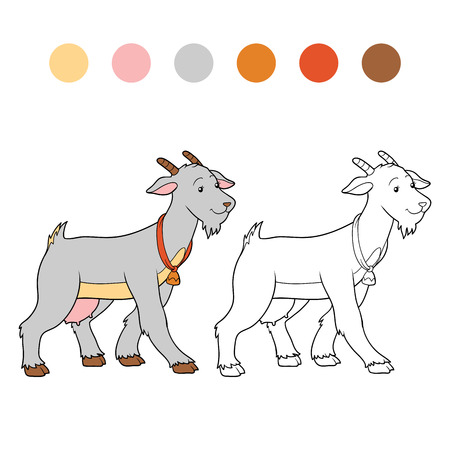 baby goat: Game for children: Coloring book (goat mother)