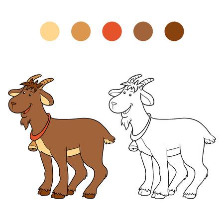 lamb cartoon: Game for children: Coloring book (goat) Illustration