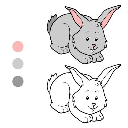 Spiel für Kinder: Farbtonbuch (Kaninchen) Standard-Bild - 40774338