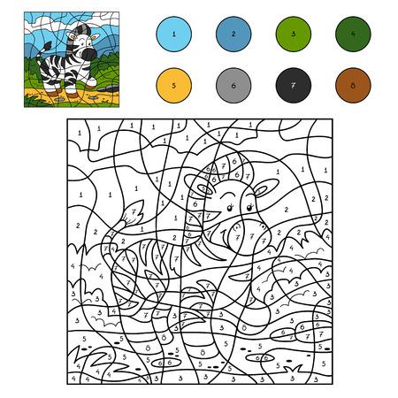 nombres: Jeu pour les enfants: Couleur par numéro (zèbre) Illustration