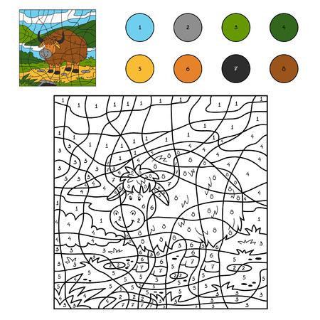 Game for children: Color by number (yak) Illustration