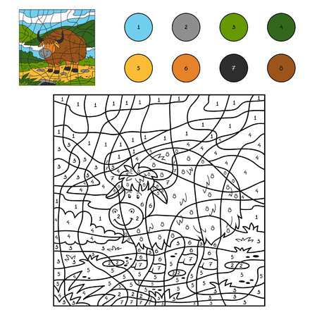 number of animals: Game for children: Color by number (yak) Illustration