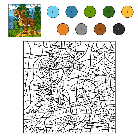 play of color: Game for children: Color by number (urial)