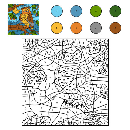 number of animals: Game for children: Color by number (owl)