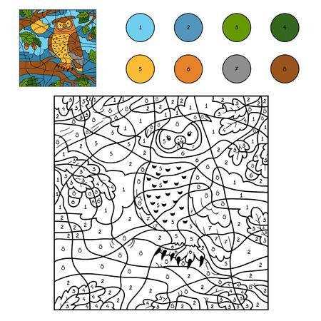 Spel voor kinderen: Kleur van het aantal (uil)