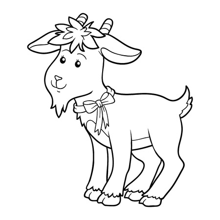 yeanling: Game for children: Coloring book (goat) Illustration