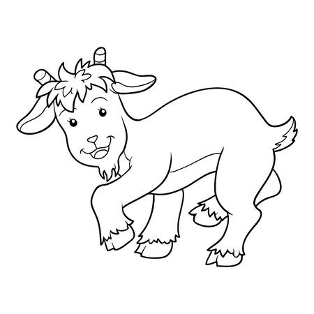 kid goat: Game for children: Coloring book (goat) Illustration