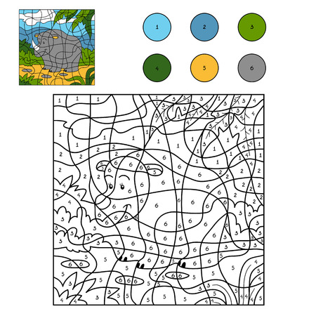 zoology: Game for children: Color by number (rhino)