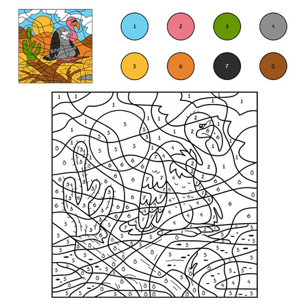 cartoon number: Game for children: Color by number (vulture) Illustration