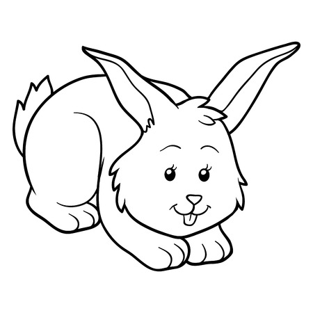 black and white farm: Game for children: Coloring book (rabbit)