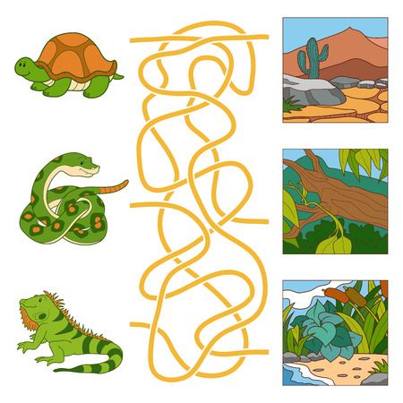 Game for children: Maze game (turtle, snake, iguana and habitat)