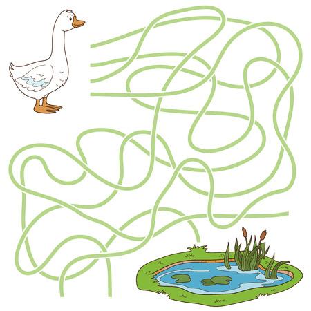 子供向けゲーム: 迷路ゲーム (ガチョウと池)