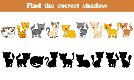 Game for children: Find the correct shadow (cats) Vectores