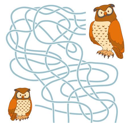 for children: Game for children: Maze game (owl family)