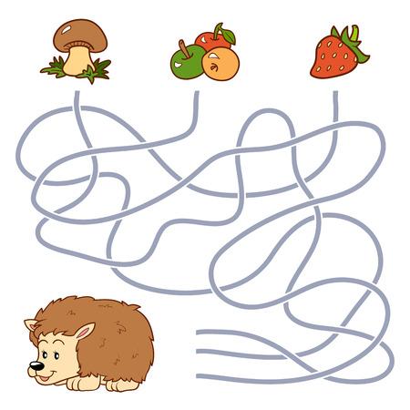 cartoon hedgehog: Game for children: Maze game (hedgehog and food) Illustration
