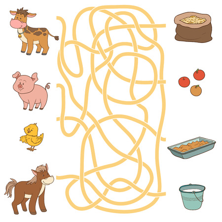 Game for children: Maze game (farm animals and food). Cow, pig, chicken, horse