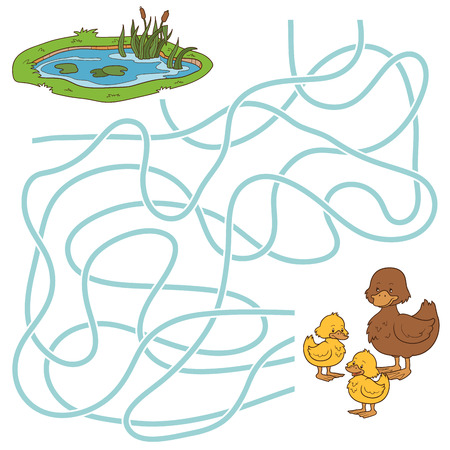children pond: Game for children: Maze game (ducks and pond)
