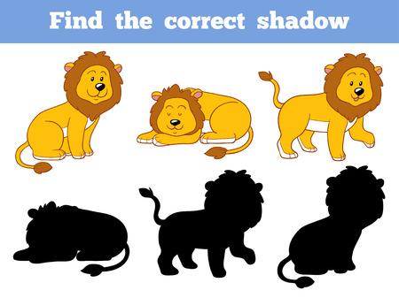 lijntekening: Spel voor kinderen: Zoek de juiste schaduw (leeuw)