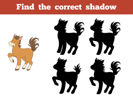 correct: Game for children: Find the correct shadow (horse)