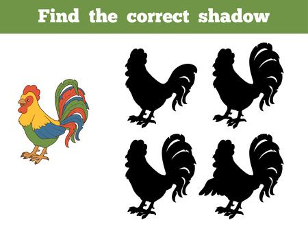 rooster: Game for children: Find the correct shadow (rooster)