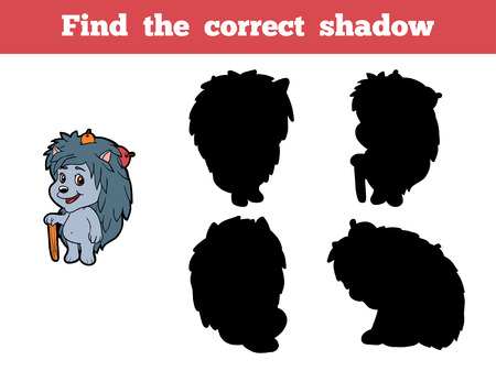 urchin: Game for children: Find the correct shadow (hedgehog)