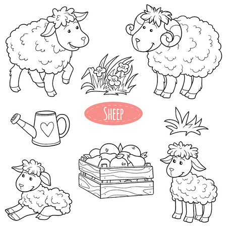 sheep wool: Set of cute farm animals and objects, vector family sheep