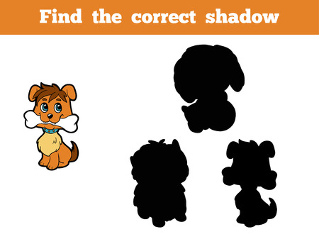 correct: Game for children: Find the correct shadow (dog) Illustration