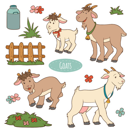 baby goat: Set of cute farm animals and objects, vector family goats
