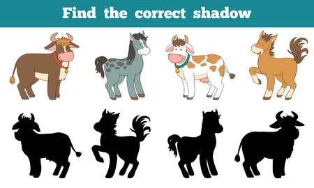 Find the correct shadow: farm animals (horse and cows)