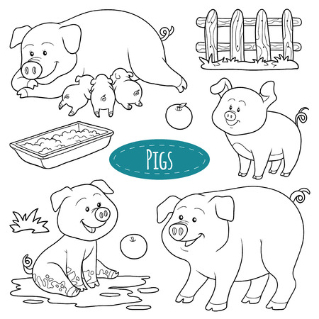 Set Of Cute Farm Animals And Objects, Vector Family Duck, Coloring ...