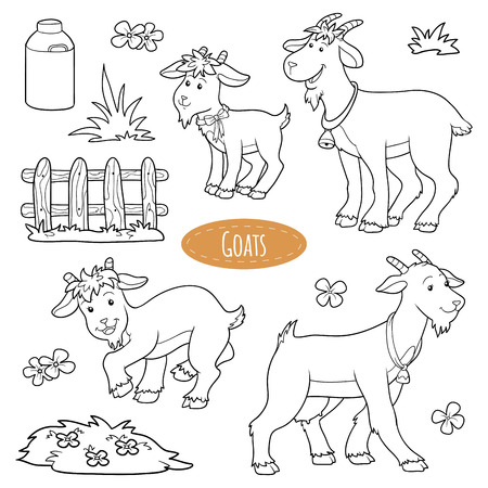 Set of cute farm animals and objects, vector family goats