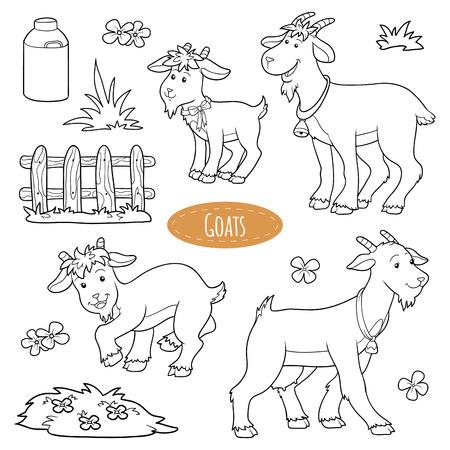 cabras: Conjunto de animales y objetos de granja lindo, cabras de la familia de vectores Vectores