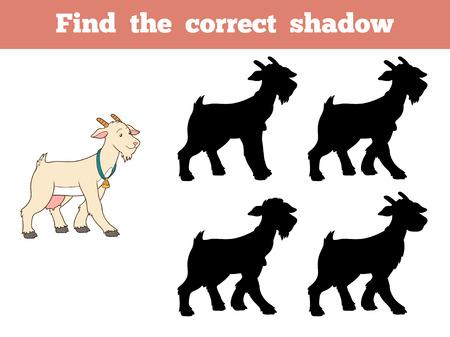 cabra: Juego para los niños: Encontrar la sombra correcta (cabra) Vectores