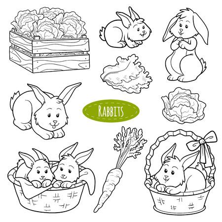 zanahorias: Conjunto de animales y objetos de granja lindo, conejos de la familia de vectores
