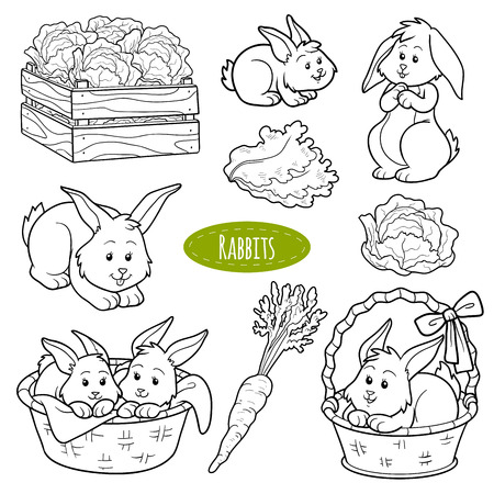 color pages: Set of cute farm animals and objects, vector family rabbits Illustration