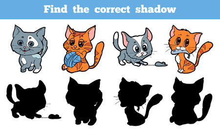 Game for children: Find the correct shadow (cat)
