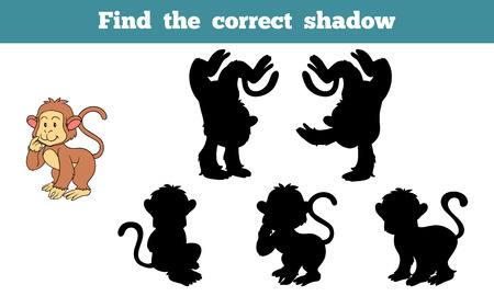 shadow match: Game for children: Find the correct shadow (monkey)