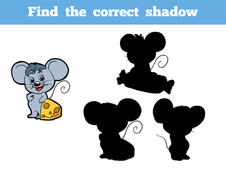 cheese cartoon: Game for children: Find the correct shadow (mouse)