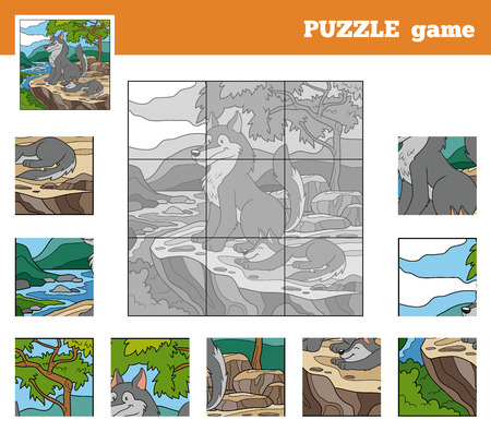 rock stone: Puzzle Game for children with animals (wolf family)